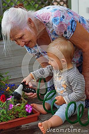 Elderly woman and grandson
