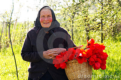 Elderly woman happy