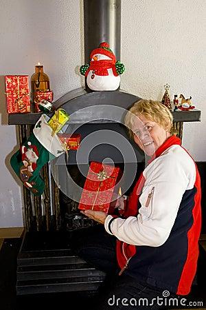 Elderly woman happy with presents