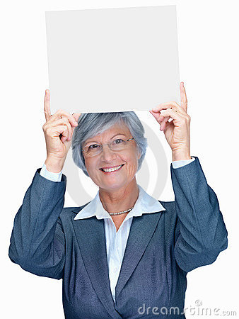 Elderly woman holding a blank billboard on white