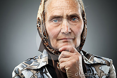 Elderly woman with kerchief