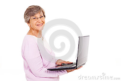 Elderly woman laptop