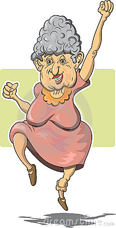 Elderly Woman Leaping for Joy