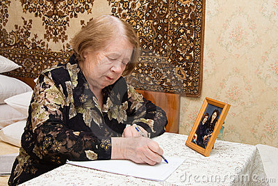 Elderly woman and  letter