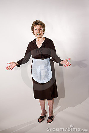 Elderly woman in maid outfit