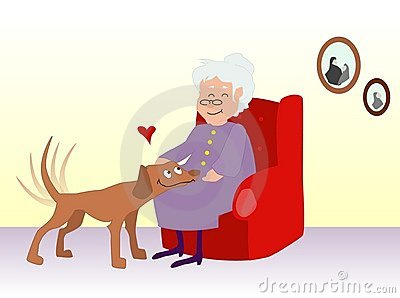Elderly woman petting a dog