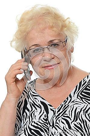 Free Elderly Woman Speaks On Phone Stock Photos - 39233643
