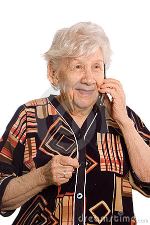 Free Elderly Woman Speaks On The Phone Royalty Free Stock Photos - 18656188