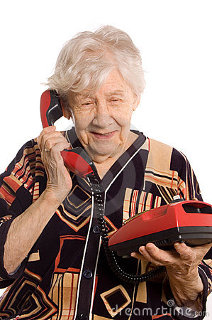 Free Elderly Woman Speaks On The Phone Stock Photography - 18656202
