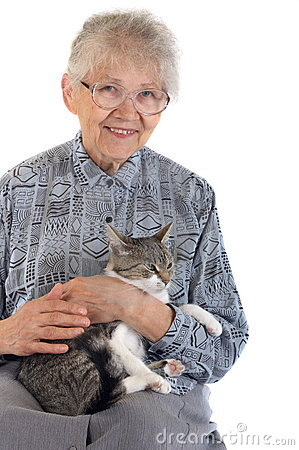 Free Elderly Woman With Cat Stock Photos - 3721123