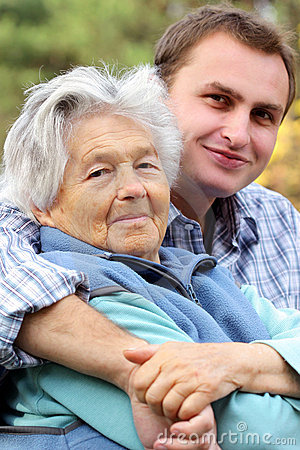 Free Elderly Woman With Her Grandson Royalty Free Stock Image - 1704486