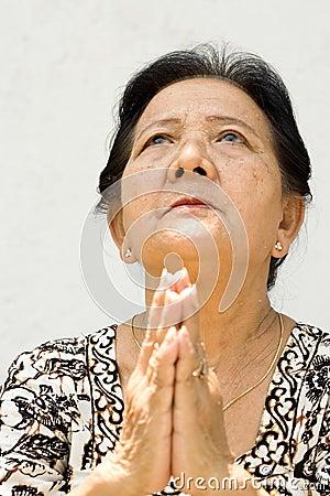 Elderly woman worship