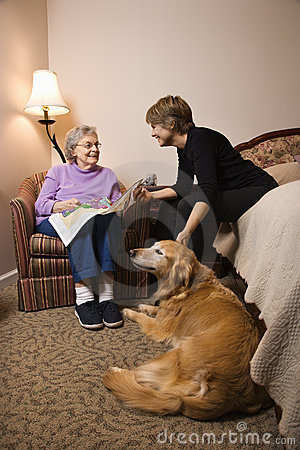 Elderly Woman With Younger Woman and Dog