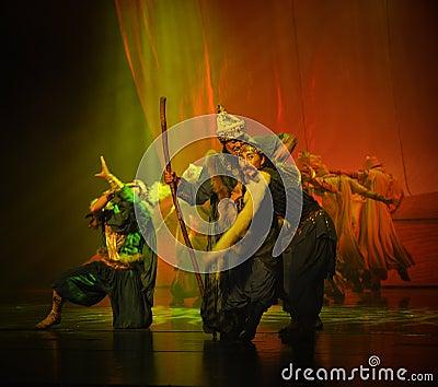 The elders and hidden traitor-Hui ballet moon over Helan Editorial Photography