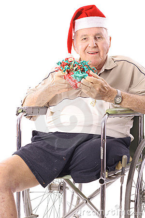 Eldery man in wheelchair celebrating christmas ver