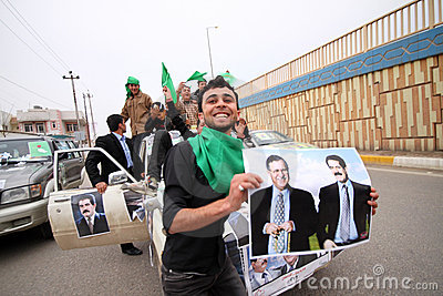 Election campaign convoy in Iraq Editorial Stock Photo