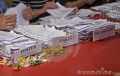 Election papers being counted during the Election Editorial Image