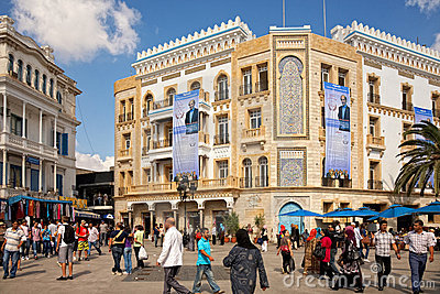 Election posters on the building in Tunis Editorial Photography