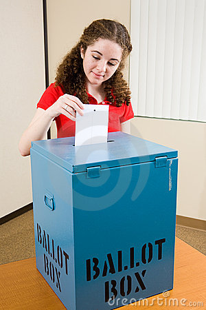 Free Election - Young Voter Casts Ballot Royalty Free Stock Photo - 4971065