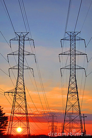 Free Electric AC Grid High Voltage Transmission Towers Stock Images - 17113114
