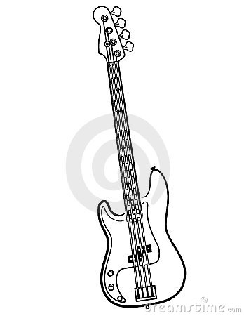 Electric Bass Guitar line art vector illustration