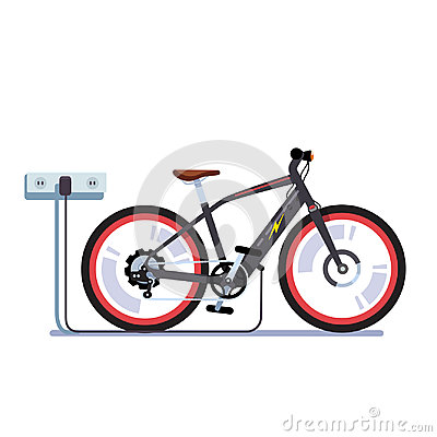Free Electric Bicycle Charging Batteries With Outlet Royalty Free Stock Image - 97538166