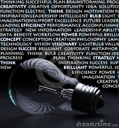 Electric bulb with creativity words