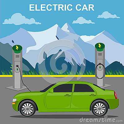 Free Electric Car And Charging Station, Vector Illustration, Flat Style Royalty Free Stock Photo - 72677975