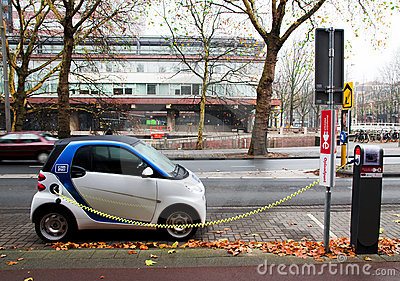 Electric car charging Editorial Stock Photo