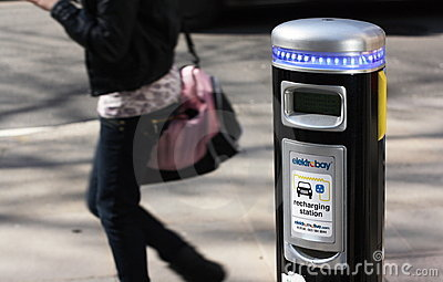 Electric Car Charging Point Editorial Stock Photo
