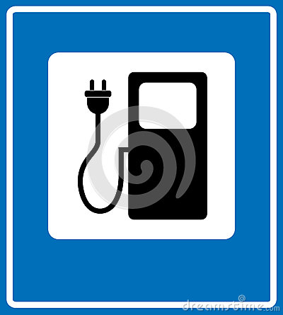 Free Electric Car Charging Station Sign Icon Against Blue. Vector Illustration. Simply Flat Style Banner Royalty Free Stock Image - 86379836