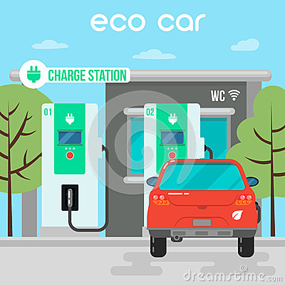 Free Electric Car. Eco Car On Charging Station Stock Images - 69631534