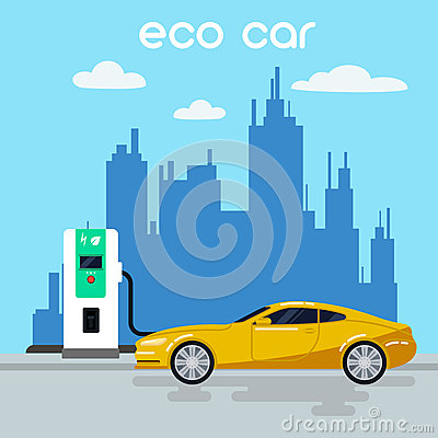 Free Electric Car. Eco Car On Charging Station Royalty Free Stock Photos - 69631548