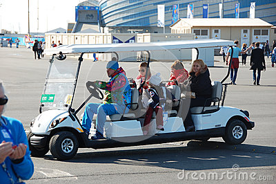 Electric cart at XXII Winter Olympic Games Sochi 2014 Editorial Stock Image