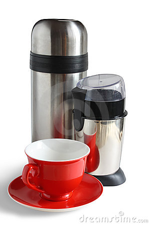 Electric coffee grinder with thermos and red cap