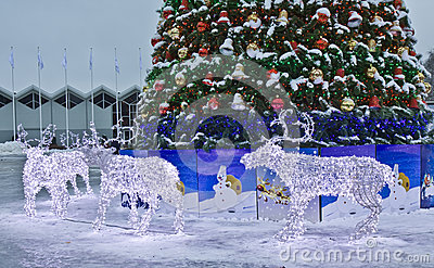 Electric deers on Christmas, Moscow Editorial Stock Photo