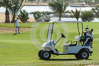 Electric golf buggy on a fairway