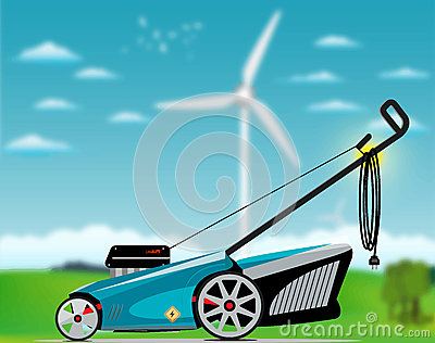 Electric grass mower Vector Illustration