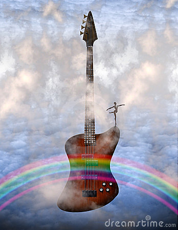 Free Electric Guitar And Rainbow Stock Image - 17090701