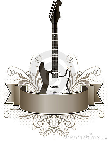 Electric guitar and banner
