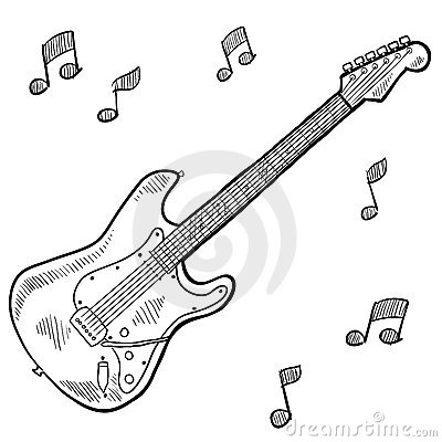 Guitar Strings Electric On Drawing Stock Photos