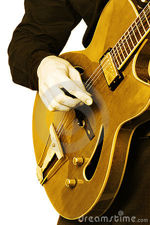 Electric guitar guitarist hand isolated.