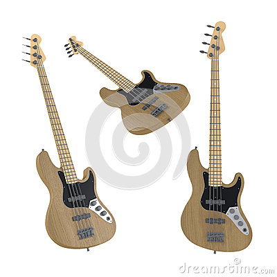 Electric guitar isolated. Multiple angles of view