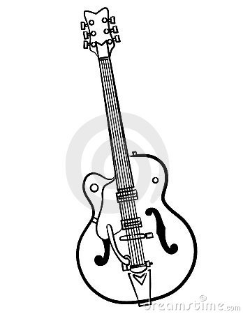 Electric Guitar line art vector illustration