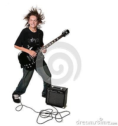 Free Electric Guitar Playing Teenage Kid Stock Photo - 9014370
