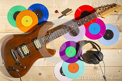 electric guitar 33 and 45 vinyl records and headphones stock photo image 54407411. Black Bedroom Furniture Sets. Home Design Ideas