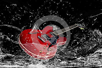 Electric guitar in water