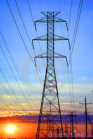 Electric High Voltage Transmission Tower at Sunset