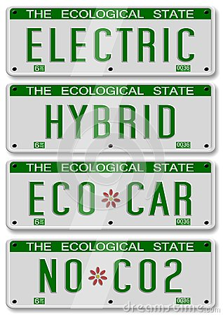 Electric hybrid car plates