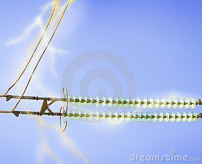Electric line against the blue sky